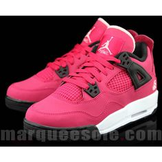 huge selection of f34b8 a4de2 Air Jordan Retro 4 GS Voltage Cherry White-Black ❤ liked on Polyvore  featuring shoes and sneakers