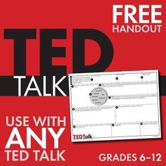 FREE print-and-teach materials to use with ANY TED Talk. Works for EVERY subject area! I love Ted Talks! Some great talks for kids. Teacher Tools, Teacher Resources, Esl Resources, Teacher Organization, Communication Orale, Middle School Ela, Middle School Libraries, Gymnasium, E Mc2