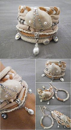 Bohemian beach wedding boho bracelet set in light peach, pastel beige and off white composed of two layering bracelets. One crochet tube bangle made with cotton threads and multi strand bracelet made with soft jersey, natural seashell, various of silver tone metal elements, tube,