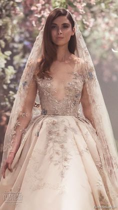 paolo sebastian spring 2018 couture long sleeves illusion jewel v neck heavily embellished bodice princess blush color ball gown a line wedding dress (1) zv -- Paolo Sebastian Spring 2018 Couture Collection