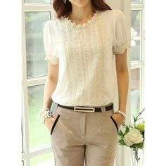 Wholesale Lace Embellished Short Sleeve Round Collar Floral Embroidery Pullover T-Shirt For Women