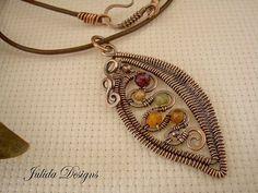 Woven Leaf Pendant----Multi-stone
