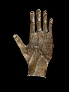Arabian hand Bronze, 100–300, Yemen. The engraving on this bronze Arabian hand names a local god, who was worshipped in a Yemeni hill town about 100–300. The town's name was Riyam and the name of the god was Ta'lab Riyam, meaning 'the strong one of Riyam'. He was entrusted with looking after the local population and one of his devotees gave the hand to him as an offering. The broken little finger and the unusually spoon-shaped nails suggest that this hand was cast from life.