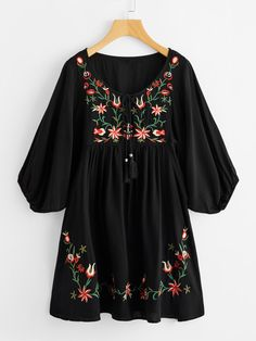online shopping for Milumia Women's Tasseled Tie Neck Lantern Sleeve Embroidered Smock Cute Mini Dress from top store. See new offer for Milumia Women's Tasseled Tie Neck Lantern Sleeve Embroidered Smock Cute Mini Dress Embroidery Fashion, Embroidery Dress, White Embroidery, Short A Line Dress, Dress Long, Trendy Outfits, Fashion Outfits, Fashion Fashion, Fashion Ideas