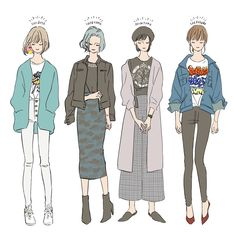 Japan Fashion, Fashion Art, Fashion Design, Cute Art Styles, Woman Illustration, Drawing Clothes, Kawaii Art, Character Design References, School Fashion