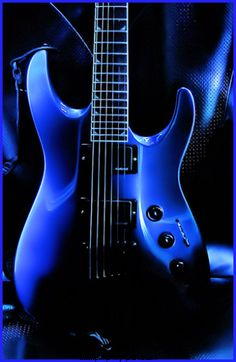 Blue electric guitar, instruments used to make music