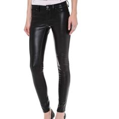 Sold. New without tags.  Never worn.  Had it sitting in my closet untouched.  Description: ultra svelte skinny pants are cut from supple vegan leather with a glossy black finish.  Super skinny fit.  Tight throughout leg and ankle.  Faux front pockets.  Single button closure and zip fly.  Measurements: rise 8in, inseam 29in, leg opening 10in.  Faux leather: 60% polyurethane, 40% viscose. Blank Denim Pants