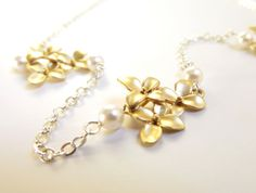 Gold Flower Pearl Necklace Gold Silver Necklace Gold by LoveHerSo
