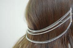 DIY Hair chain headpiece using chain and hair combs