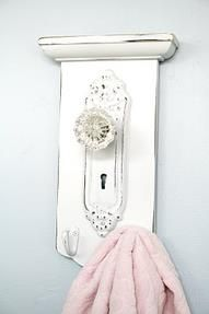 Turn the door knob to a new idea.....old glass door knobs with their beautiful faceplates make wonder hangers for your towels in the kitchen, bath hand towels in the bathroom or anywhere that you need to hang something.