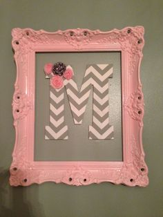 tradional pink picture frame with chevron initial/decor for a little girl's room