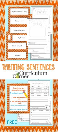 Sentence Writing Collection FREE from The Curriculum Corner | This is a HUGE…