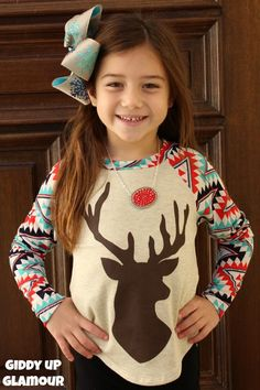 Kids Most Famous One Of All Aztec Sleeved Top with Deer Silhouette www.gugonline.com $22.95