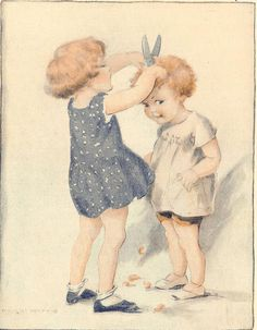 1927 Muriel Harris illustration--oh dear, a child giving another a haircut!!