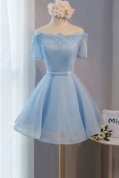 Elegant Ice Blue Homecoming Dresses#ElegantIceBlueHomecomingDresses Satin Organza Homecoming Dresses#SatinOrganzaHomecomingDresses  Short Sleeve Prom Dress#ShortsleevePromDress Custom prom dresses#Custompromdresses Prom Dresses 2018#Prom Dresses2018
