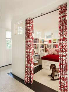 Transom windows to laundry to get light into reading nook? Dillon Kyle Architects - Fun and playful children's playroom with built-ins storage bookshelves and white built-in storage daybed, red pillows, iron curtain rod and white & red drapes. Built In Daybed, Daybed With Storage, Mini Library, Children's Library, Dream Library, Interior Minimalista, Decoration Inspiration, Reading Room, Kids Reading