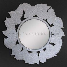 Hiasan Frame Cermin Dinding Bulat Ukiran Daun | FurniDes.Com
