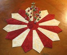 """Quilted Table Topper """"Holiday Glow"""" Table Centerpiece / Table Runner / Table Decoration / Home Decor / Gift / Ready to Ship  :)"""