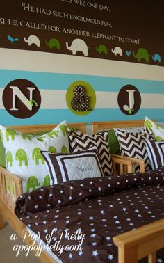 Cute shared Toddler Boys Room!! Love the beds next to each other and LOVE the initials! so so cute!.