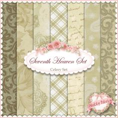 """Seventh Heaven 7 FQ Set - Celery: This Seventh Heaven Set is an exclusive Shabby Fabrics creation!  We have taken the guesswork out of finding coordinating fabrics.  This set contains 7 coordinating fat quarters, each measuring approximately 18"""" x 21""""."""