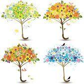 Four Floral Umbrellas