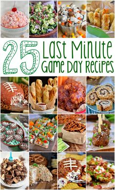 25 Last Minute Game Day Recipes For those of you who procrastinate like I Last Minute Game Day Recipes that require minimal ingredients and time! Sweets, savory, snacks - you'll find it all here! // Mom On Timeout Game Day Appetizers, Game Day Snacks, Easy Appetizer Recipes, Game Day Food, Party Recipes, Game Day Recipes, Tailgate Appetizers, Egg Recipes, Last Minute