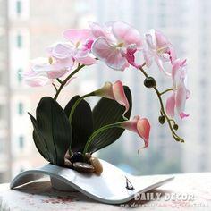 Необычные ручной работы икебана искусственный орхидея цветы цветочные композиции флорес artificiais orquideas / arranjos в декоративные керамические горшки