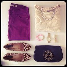 Knit Cable Sweater, Tory Burch Clutch, Purple Colored Denim, Leopard Print Flats, Gold Watch, and a Pastel Pink and Gold Chain-Link Bracelet
