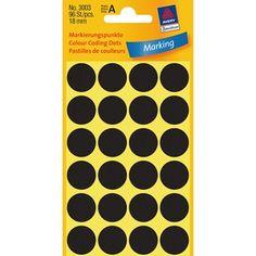 Avery Zweckform 3003 - Markierungspunkte, 18 mm, 96 Etiketten, schwarz