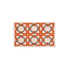 Geometric Tile Rug- Orange Grey ($210) ❤ liked on Polyvore