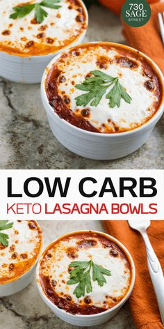 Enjoy this lasagna without the carbs with this low carb lasagna bowls recipe. When it comes to comfort food, lasagna ranks pretty high up there on a list of things people crave. Warm and rich, coma-inducing, carbalicious (I made that word up, but you Ketogenic Diet Meal Plan, Diet Meal Plans, Ketogenic Recipes, Low Carb Recipes, Diet Recipes, Cooking Recipes, Meal Prep, Diet Menu, Dukan Diet