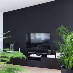 bythereseknutsenno  Happy friday New blog post! Link in profile. Our home, trying to camouflage the tv ;-) #tailored #interior #design #myjob #interiørdesigner #interiør #interior_magasinet #skreddersøm #diy #tv #jotunlady #green #plants #palm @binderiet #ikeanorge #black #wall #buildin #renovation #interiørmagasinet #mittlivminstil