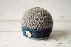 Gray Baby Boy Hats Crochet Newborn Boy Hat by PBlossomBoutique