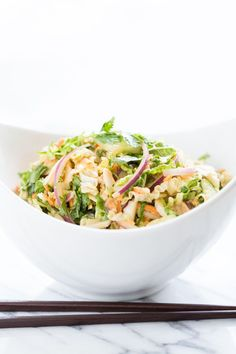 Banh Mi Slaw with Creamy Sriracha Dressing ; cabbage ; carrot ; basil ; chicken ; healthy ; salad