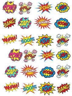 24 Stand Up Premium Edible Wafer Paper Superhero Retro Pow Zap Comic Book Style Cake Toppers Decorations