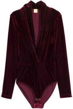Ruby red velvet velour long sleeve deep v bodysuit Bodysuit Blouse, Bodysuit Tops, Red Velvet Top, Velvet Tops, Pullover Shirt, Smart Dress, Winter Tops, Retro Outfits, Work Casual