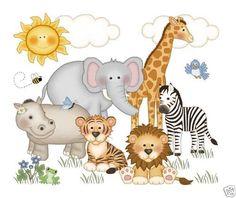 Jungle Animals Mural Decals Baby Boy Nursery Kids Room Zebra Wall Stickers Decor