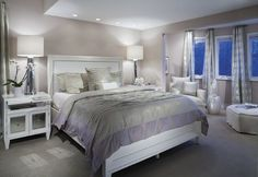 This serene bedroom features our Century Table Lamps and Concerto Nightstand. via Design New Jersey