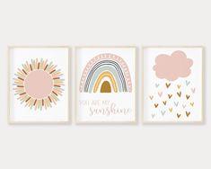 Baby Girl Nursery Decor, Boho Nursery, Nursery Prints, Nursery Wall Art, Rainbow Nursery Decor, Baby Wall Art, Rainbow Print, Rainbow Baby, Sunshine Printable