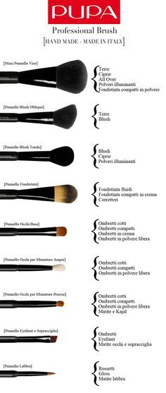 PROFESSIONALS BRUSHES #madeinitaly #handmade A complete range of brushes, perfect to blend products in a professional way for a flawless #makeup.