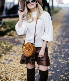leather ruffled skirt outfit, Chloe Pixie bag, over the knee boots, OTK looks, round bag, spring look, spring outfit idea  #fallstyle #fallfasion #fallfashionblogger #fashionblogger #leatherskirt #falloutfit
