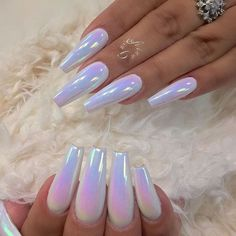 winter acrylic nails that are beautiful . – 40 cute acrylic nails designs to inspire your winter holiday 89 30 Eye-catching Red Nail Art Designs to Show Your Style; Acrylic Nails Chrome, Clear Acrylic Nails, Almond Acrylic Nails, Metallic Nails, Acrylic Nail Designs, White Chrome Nails, White Nails, Holographic Nails Acrylic, Chrome Nails Designs