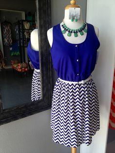 Royal blue chevron dress!! Chevron Dress, Blue Chevron, Middle School Graduation Dresses, Royal Blue, Summer Dresses, Pretty, Skirts, Clothes, Fashion