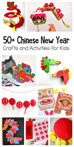 50+ Chinese New Year Crafts and Activities for Kids: Over 50 resources to celebrate the Chinese New Year including dragon and lantern crafts, free printables, games, art projects, picture book lists and more!  via @https://www.pinterest.com/cmarashian/boards/