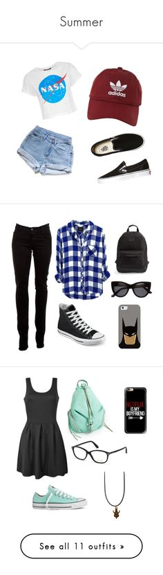 """""""Summer"""" by angelester ❤ liked on Polyvore featuring Levi's, Vans, adidas, J Brand, Converse, Rip Curl, Casetify, H&M, batman and casualoutfit"""