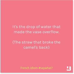"""It's the drop of water that made the vase overflow."" French #idiom meaning the straw that broke the camel's back. #saywhat #quote #quotes #pinquotes"