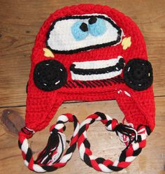 Lightning McQueen Beanie... Currently available in 2 sizes, 0-6 Months & 3-6yrs
