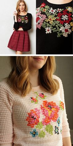 DIY Cross Stitch Sweater Tutorial from Uber Chic for Cheap. She picked a sweater with a waffle pattern - a kind of ready made grid. She also lists lots of cheap cross stitch sweaters if you don't want to DIY. Top Photos: Antrhopologie Tabitha Floral Cross Stitch Sweater (not available except on EBAY). Bottom Photo: DIY by Uber Chic for Cheap.