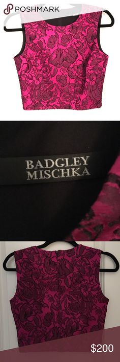 Badgley Mischka crop top Awesome magenta crop top perfect for summer. Can be worn with anything!! Badgley Mischka Tops Crop Tops