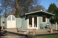 Cabin/Summerhouse from south facing garden, nr Cambridge owned by Anna Samways Painted Garden Sheds, Painted Shed, Garden Bar, Garden Studio, Garden Edging, Garden Office, Garden Ideas, Summer House Paint, Summer Houses
